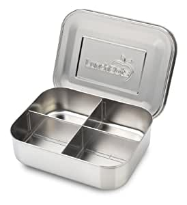 Lunchbots Quad Stainless Steel Food Container - Four Section Design Perfect for Healthy Snacks, Sides, or Finger Foods On the Go - Eco-Friendly, Dishwasher Safe and BPA-Free - All Stainless