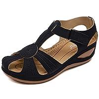 Wedges Sandals Women Summer Closed Toe Sandals Ladies Casual Retro Roman Shoes Black