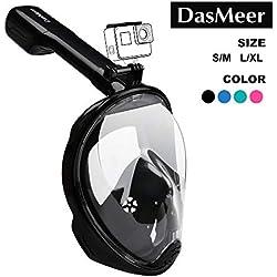 DasMeer Masque de plongée plein visage 180° panoramique, avec technologie antibuée et anti-fuite, pour les sports aquatiques, la natation et la plongée en mer