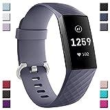 CalMyotis Fitbit Charge 3 und Charge 3 SE Armband Kompatibel, Weiches Verstellbare Silikon, für Damen/Herren (Zwei Größen)