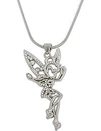 Collar con colgante con diseño de Campanilla, con cristales en las alas, perfecto para mujeres y adolescentes