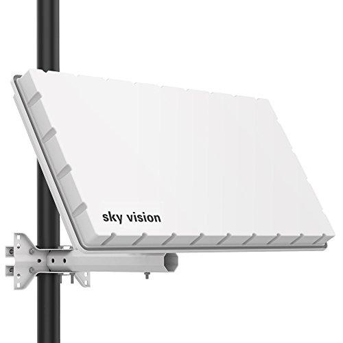 Sky Vision Flat H39 D2 Antenna satellitare con Twin LNB (antenna piatta per 2 utenti, antenna satellitare piatta con supporto per parete o palo adatto per Astra, HotBird) Bianco