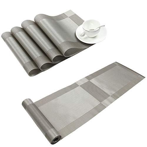 Homcomoda Vinyl Tischsets 4er Set und ein Tischläufer 30 × 180cm (Grau)