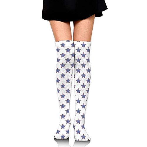 OQUYCZ Women Stars Pattern National Independence Themed Artsy Flag Colored USA Artistic Simplicity High Socks