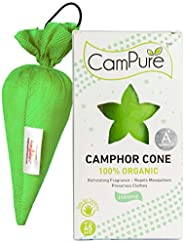 Mangalam CamPure Jasmine Camphor Cone - Room Freshener, Mosquito - Insect Repellent (Pack Of 4)