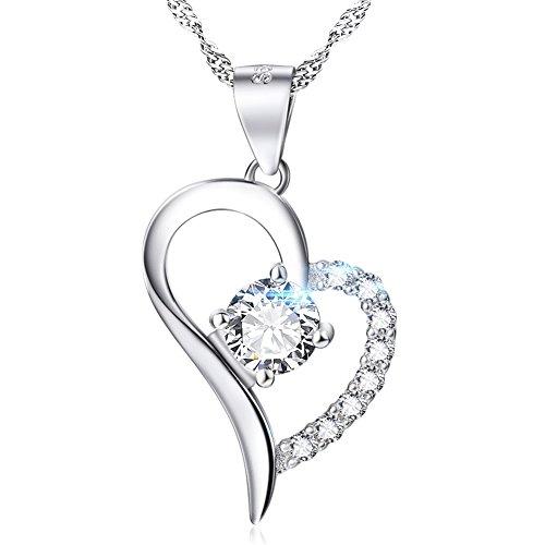 HONGYE S925 Sterling Silber Herz Form CZ Forever Love Halskette für Frauen Lady, 45,7 cm (Herren 14k Kette Gold Overlay)