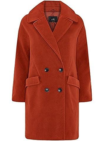 oodji Collection Damen Zweireihiger Lässiger Mantel, Rot, DE 36 / EU 38 / S