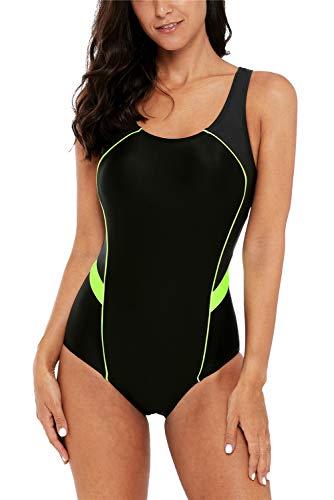 Charmo Sports Figuroptimizer Einteiler Bademode Racing One Piece Badeanzug Schwimmanzug Kontrastfarbe Strandkleid L