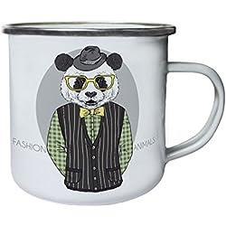 Animales de moda Ellegant Panda Bear Retro, lata, taza del esmalte 10oz/280ml y258e
