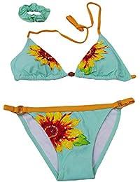 takestop® Costume Bikini Triangolo Slip Cerchietto Girasole Fiori Floreale  con codino Colorate Colori Costumi Regolabile baf800b649bd