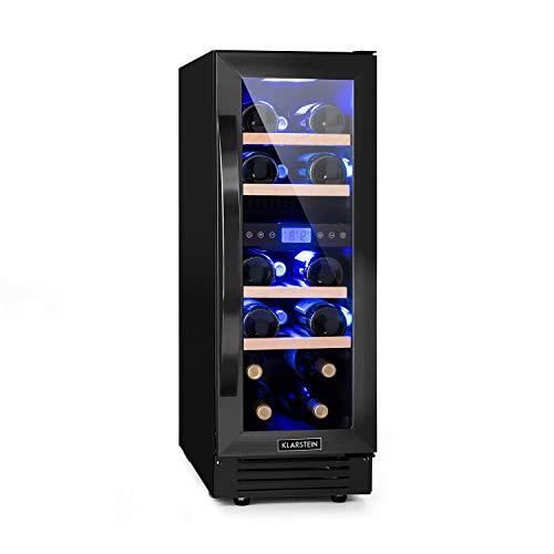 KLARSTEIN Vinovilla Onyx 17 - Frigorifero Vino, Cantinetta con Porta in Vetro, 53 L, 17 Bottiglie di Vino, Slim-Design: 30 cm (P), Illuminazione Interna, 4 Ripiani, 2 Zone Raffreddamento, Touch, Nero