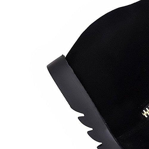 VogueZone009 Damen Mittler Absatz Nubukleder Metall Nägel Reißverschluss Stiefel Schwarz