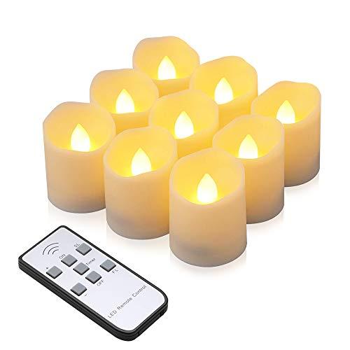 LED Kerzen, synmixx 9 LED Flammenlose Teelichter Flackern Kerzen mit Fernbedienung, Timerfunktion, Dimmbar, Elektrische Kerze Lichter für Weihnachtsdeko, Party, Geburtstags (Warmweiß) -