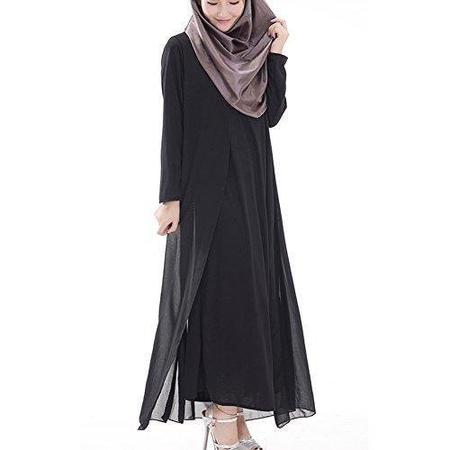 hibote túnicas árabes musulmanes las mujeres oriente medio vestido de gasa de manga larga negro XL