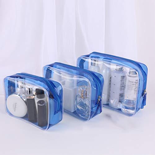 Trousse de toilette transparente sac Kit 3 pièces/sac, grande capacité imperméable PVC voyage rangement sac à cosmétiques portable cosmétique Organisation,Blue