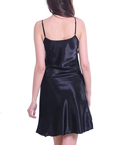 Satin Lingerie Pour Femmes V¨ºtements De Nuit Chemise De Nuit Robe Courte Noir