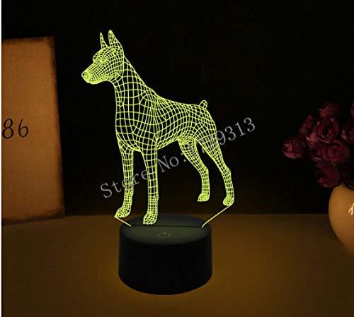 LULO 3D Visual Illusion Lampe Bulldog Pudel Jack Russell Terrier Rottweiler Dobermann LED Nachtlicht Dog Style Schreibtischleuchte-AB -
