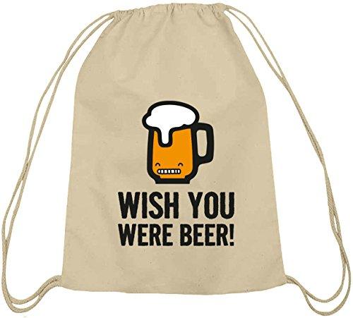 Shirtstreet24, Wish You Were Beer! Baumwoll natur Turnbeutel Rucksack Sport Beutel Natur