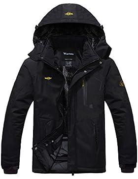 Wantdo Chaqueta de Montaña Impermeable para Hombres de Abrigo de Esquí