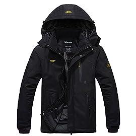 Wantdo Men's Mountain Ski Jacket Warm Winter Fleece Coat Waterproof Raincoat Outdoor Hooded Windbreaker Jackets