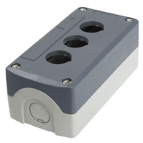 Preisvergleich Produktbild Grau Kunststoff 22mm Dia 3-Loch Push Button Switch Control Box Case