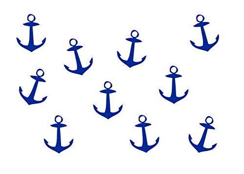 Miniblings 10x Bügelbild Bügelbilder Aufnäher Patch GLATT Boot Meer 33mm Anker, Farbe:blau
