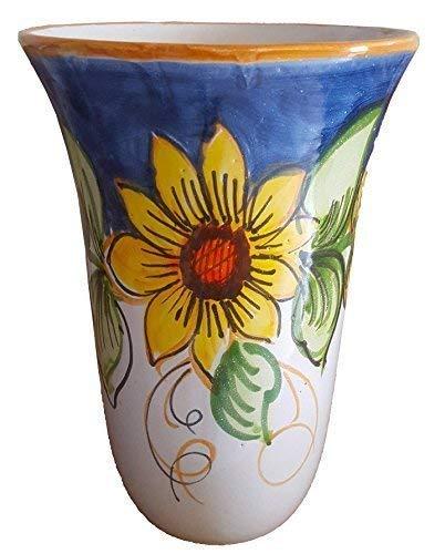 Portaombrelli vaso in ceramica artistica vietrese dipinto a mano (maiolica) ; altezza cm. 48, diametro cm. 31. made in italy - vaserie rinaldi.