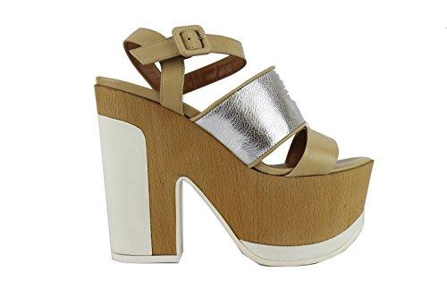 MY COCHO 37 EU sandali donna beige / argento pelle AH539 (37 EU)