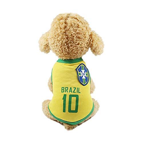 DDG EDMMS Puppy Kleidung Fußball Netz atmungsaktiv T-Shirt Hundekostüm nationalen Fußball Niederlande Fußballfan Haustier Hund Katze - Brasilien ()