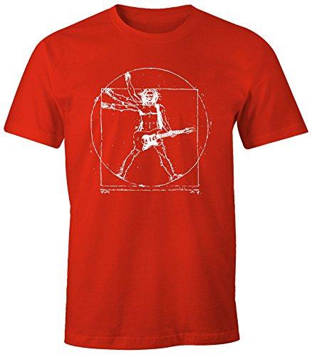Herren T-Shirt - Leonardo Da Vinci Gitarre Rock - Comfort Fit MoonWorks® Rot