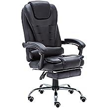 JR Caballero lc-05bk ergonómico Gaming Chair, ultmost comodidad diseño Home ordenador de oficina giratoria Racing silla piel sintética, acolchado silla de escritorio con Extended pierna y sillón reclinable