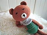 personalisierte geschenke baby Handmade Teddybär Kuscheltier für Babys gehäkelt mit Namen Baby-Geschenk Junge ds-handmade