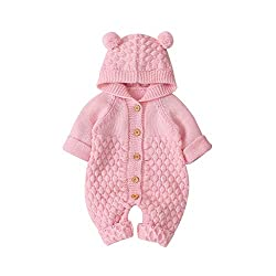 LEXUPE Baby Winter Fleece Overall Mit Kapuze Mädchen Jungen Schneeanzüge Warm Strampler Outfits 0-12 Monate(Rosa,73)