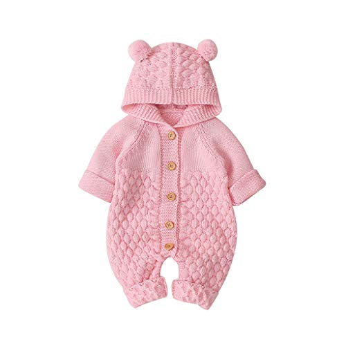 Dasongff Neugeborenes Baby Kapuze Gestrickte Strampler Overall Winter wärmer Schneeanzug für Jungen Mädchen Baby-Strickoverall Mantel-Strickoverall -
