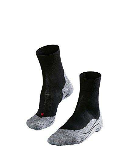 Wolle Damen-socken (FALKE Damen Laufsocke RU4, Black-Grey, 39-40, 16704)