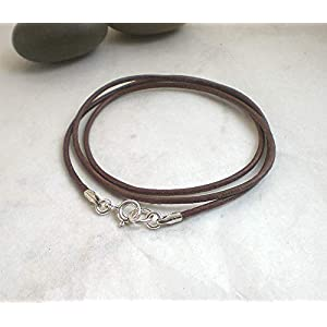 Feine Lederkette dunkelbraun 925 Silber, Halskette schlicht Leder braun Sterlingsilber