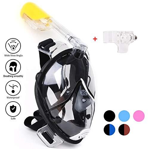 Schnorchel Maske 180° Grad Panorama -Vollgesichts -Frei Atmen Design -Schnorchel Maske Tauchmaske -Anti-Antibeschlag und Anti-Leck -2 eingebaute Atemschläuche -Eingebaute Ohrstöpsel (Black, L-XL)