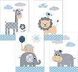 Lalelu-Prints Dschungeltiere Safari Kinderzimmer Poster Set DIN A4 I Kinderbilder Deko Mädchen Junge I Wandgestaltung Babyzimmer Wandbilder Dschungel Elefant Giraffe Löwe Nilpferd blau grau