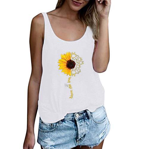 Andouy Damen Mode Persönlichkeit Gedruckt Rundhals Kurzarm T-Shirt Bluse Tops(M(36).Weiß-Sonnenblume) Sleek Sticks Collection