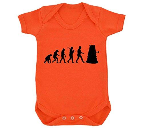 Evolution of a Cyborg Mutant Design Baby Body Orange mit Schwarz Print Gr. 6-12 Monate, Orange