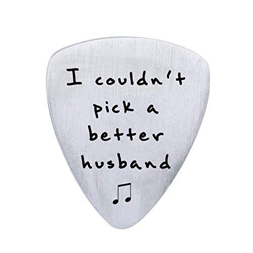 Ehemann Geburtstags-/Valentinstag-Geschenkideen von Frau - I Coul't Pick A Better Husband Gitarre Plektrum Plektron Personalisierte Geschenke für Musiker Mann Hochzeit Jahrestag Weihnachten