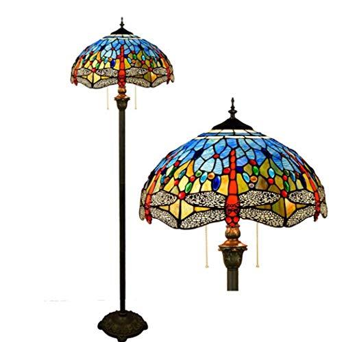Tiffany Style Stehleuchte Stehende Beleuchtung des 16-Zoll-Tabellen-Schreibtischs mit handgefertigten Libelle Glasmalerei Schlafzimmer Boden Leselampe, Fußschalter, E27 × 2,40W (40 * 162CM) -