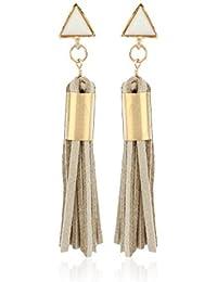 Fasherati Beige Vintage Dreieck Lange Troddel Drop In Faux Wildleder Stoff Ohrringe für Frauen