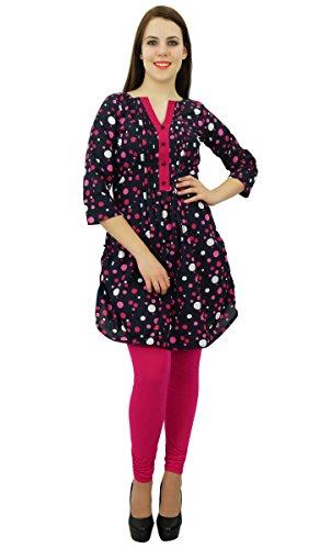 Phagun Ethnique Robe Haut Kurti Design Tunique Femmes Coton Polka Dot Kurta Noir et magenta