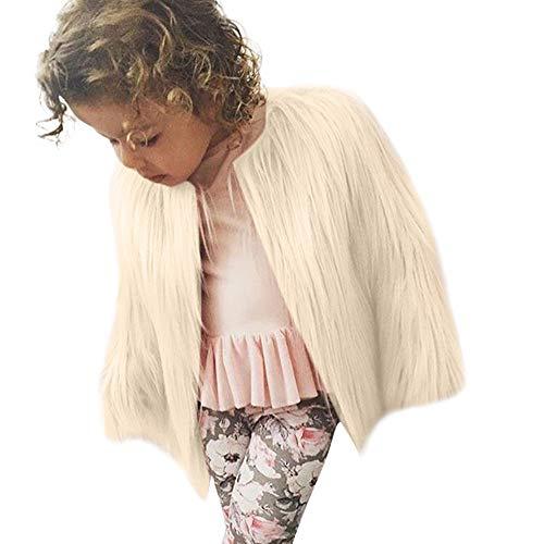 Modaworld Kleinkind- scherzt Baby-Mädchen warme Jacke Kunstpelz-starken-festemit Kapuze -