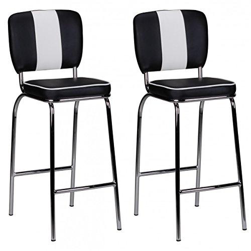 FineBuy 2er Set Barhocker King American Diner 50er Jahre Retro 2 Barstühle   Sitzfläche gepolstert mit Rücken-Lehne   Thekenstühle mit Fußstütze   Sitzhöhe 76 cm   Farbe: Schwarz Weiß -