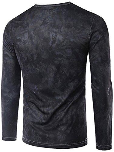 Whatlees Herren Hip Hop Slim Fit langärmliges Sweatshirts mit 3D Bunte Farbkleks Print B057-32