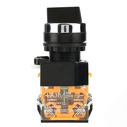 Akozon Momentary Rotary Switch 22mm 2 Position Auto Reset Selector Momentary Drehschalter LA38-11BX22 -