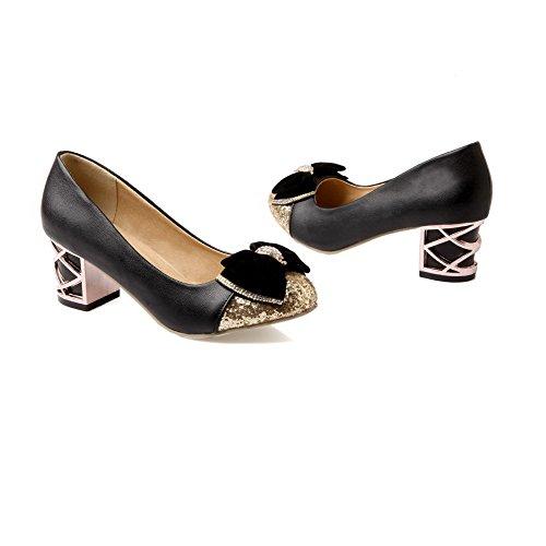 VogueZone009 Femme Couleurs Mélangées PU Cuir à Talon Correct Tire Rond Chaussures Légeres Noir