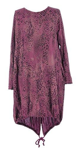 Mesdames Womens Lagenlook italienne bizarre manches longues Leopard Print 2 Pocket Drawstring Hem coton Midi robe courbe un taille Plus UK 14-20 Bourgogne